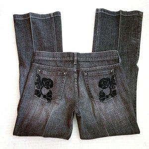 WHBM Noir Flare Leg Jeans Rose Embroidered 6R